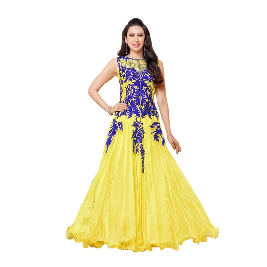 39c8777b63c Yellow net embroidered semi stitched party-wear-gowns - Tenet Retail -  801517