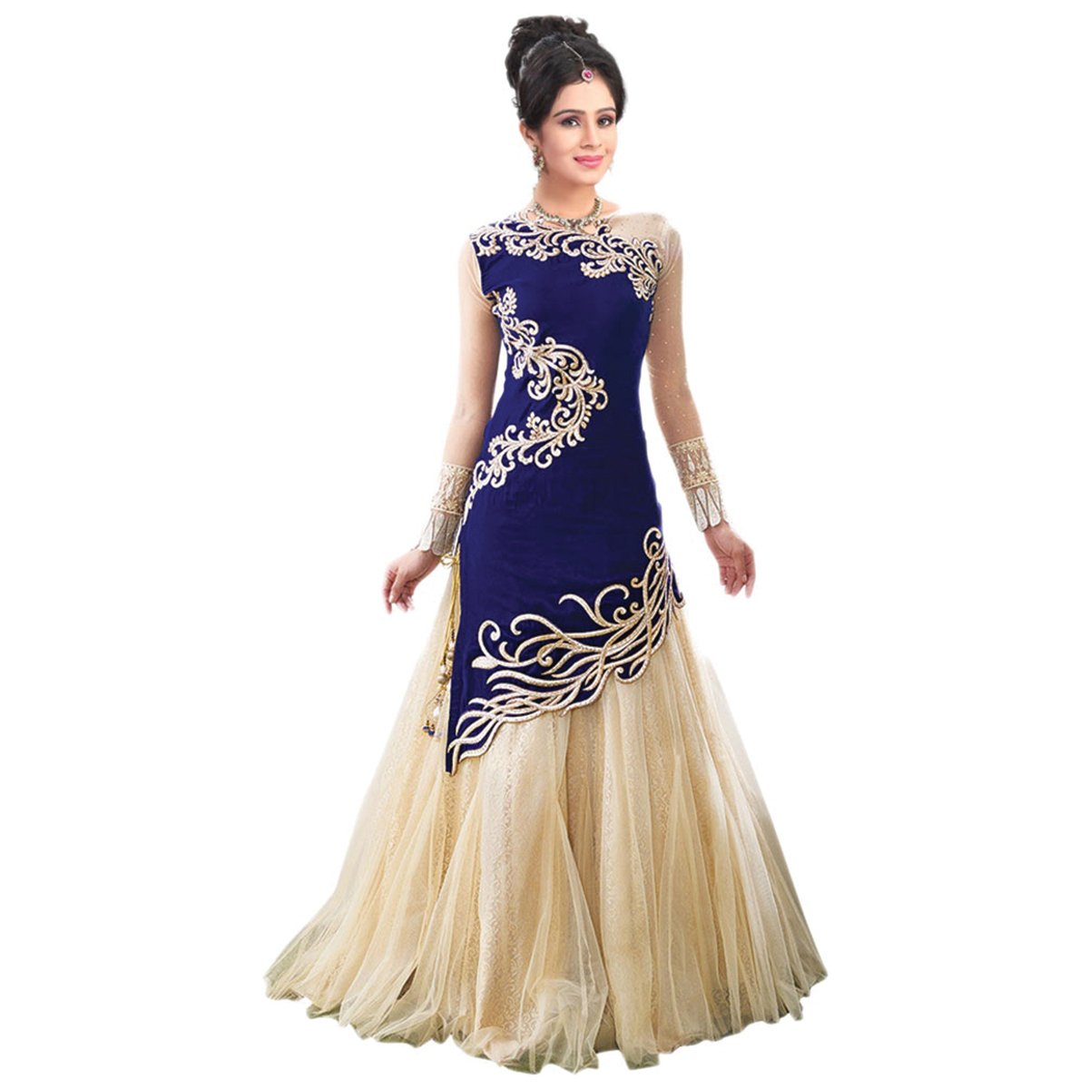 d94199e16b Blue net embroidered semi stitched party-wear-gowns - Tenet Retail - 801518