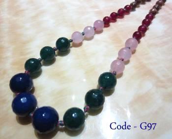 Multicolor Jade Semi Precious Necklace