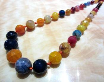Multi Fusion Banded Agate Semi Precious Necklace
