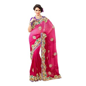 Hypnotex Viscose Georgette Pink Color Designer Saree Star123