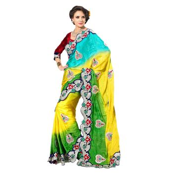 Hypnotex Viscose Jacquard  Blue and Yellow and Green Color Designer Saree Star126