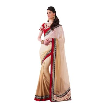 Hypnotex Satin Chiffon Jacquard Cream Color Designer Saree Violet113