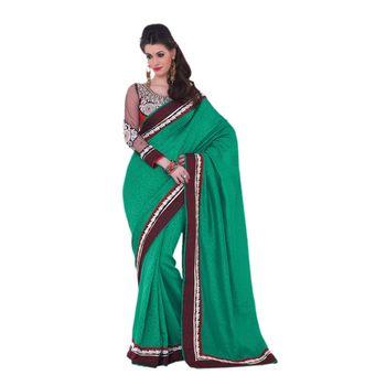 Hypnotex Art silk Green Color Designer Saree Violet115