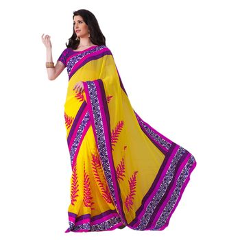 Hypnotex Faux chiffon Yellow Color Designer Saree Violet120