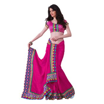 Hypnotex Art silk Pink Color Designer Saree Violet121