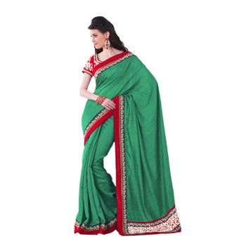 Hypnotex Art silk Green Color Designer Saree Violet122