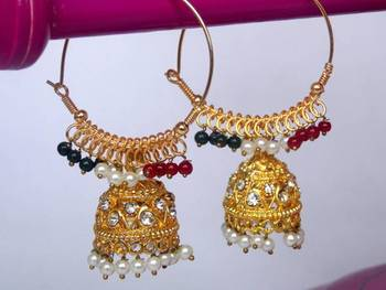 Multi coloured big jhumka
