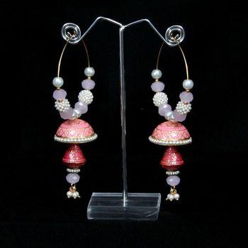 pink minakari earring