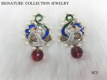 RUBY and mayur pearl earring by signature in 18k gold plating