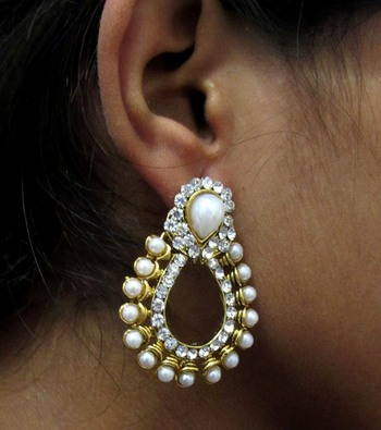 Pearl and stone Leaf Polki Earring