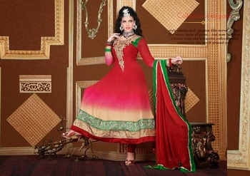Marvelous Ivory, Pink & Red Salwar Kameez
