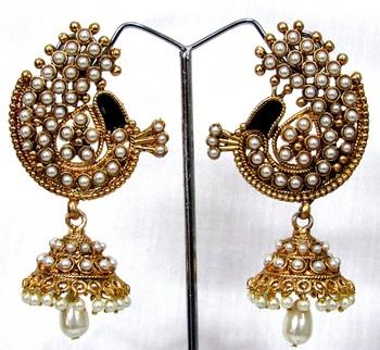 Pearl Peacock Jhumka Earring