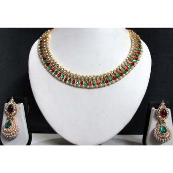 Maroon Green Stone gota necklace set