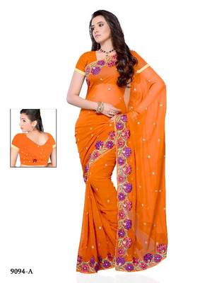 Engaging Party wear saree made from Georgette by DIVgeA FASHION-Surat