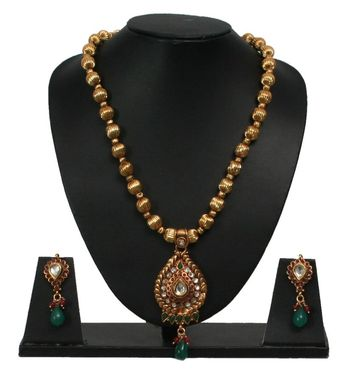 jadau red and green necklace