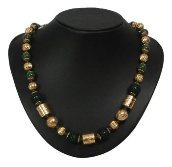 golden and green beads necklace