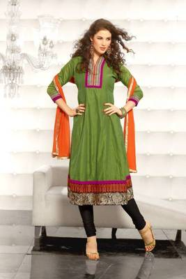 Metro Anarkali Chanderi Cotton Printed Embroidery Suit Materials D.No S1007