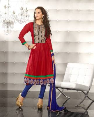 Metro Anarkali Chanderi Cotton Printed Embroidery Suit Materials D.No S1010