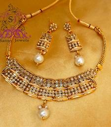 Buy Polki & Pearl Choker Necklace necklace-set online