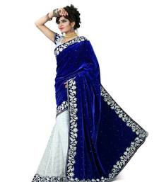 Buy New blue embroidered velvet sree with blouse velvet-saree online