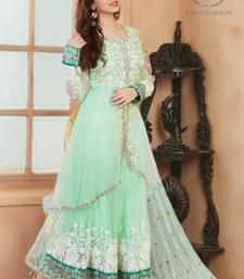 Buy Green net embroidered semi stitched salwar with dupatta eid-special-salwar-kameez online