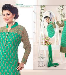 Green net embroidered semi stitched salwar with dupatta shop online