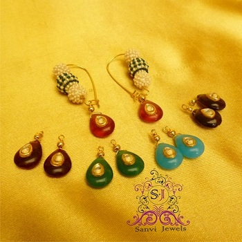 Pearl & Kundan Drop Changeable Earrings