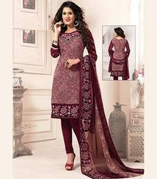Buy Multicolor printed crepe unstitched salwar with dupatta women-ethnic-wear online