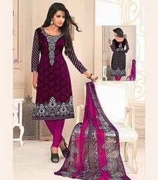 Buy Purple printed crepe unstitched salwar with dupatta women-ethnic-wear online