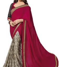 Buy Maroon printed chiffon saree with blouse jute-saree online