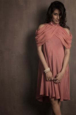 Salmon Pink Dress by Wendell Rodricks