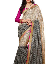Buy pink  and gray   printed cotton silk saree with blouse bhagalpuri-silk-saree online