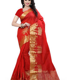 Buy red plain Cotton saree with blouse cotton-saree online