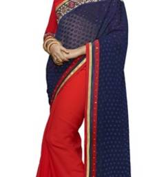 Buy Red and Blue embroidered chiffon saree with blouse brasso-saree online