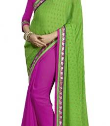 Buy Pink and Green embroidered chiffon saree with blouse brasso-saree online