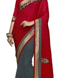 Buy Red and Grey embroidered chiffon saree with blouse brasso-saree online