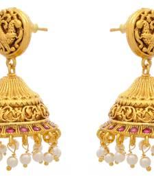 Tantalizing Temple Jewellery Gold Designer Jhumka with Semi Precious Ruby Stones