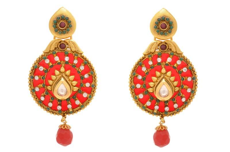 d79117a957fab Jfl - traditional ethnic one gram gold plated red green stone austrian  diamond kundan designer