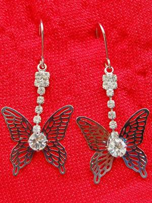 Maayra Silver AD Party Butterfly Earrings