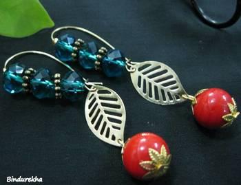 Blue_Crystals_Leaf_red_Bead_Earrings