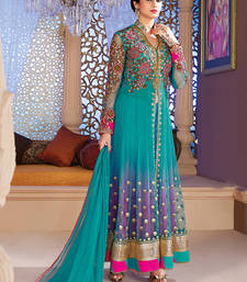 Buy Blue Net embroidered semi stitched salwar with dupatta salwar-kameez-below-2000 online