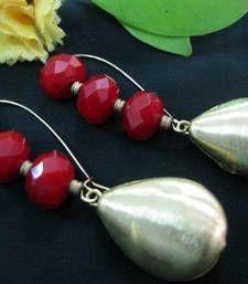 Buy Red_Crystals_Brass_Drop_Earrings Earring online