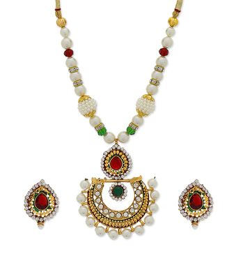 Red Green Traditional Moti Pearl Neckalce