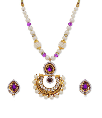 Purple Traditional Moti Pearl Necklace set