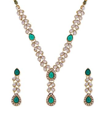 Green Designer Kundan Dimante Necklace set