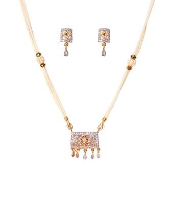 Gold American Diamond Pearl Moti Necklace
