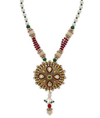 Gold Red Green Moti Designer Necklace