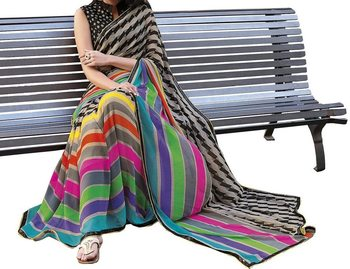 Multicolor embroidered georgette sareem with blouse