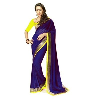 blue embroidered georgette sareem with blouse